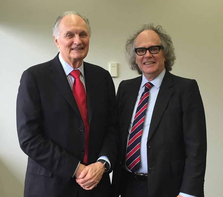 Phil Brown meets Alan Alda in Brisbane during the World Science Festival