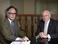 Picture - Phil Brown interviewing former PM John Howard